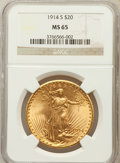 Saint-Gaudens Double Eagles: , 1914-S $20 MS65 NGC. NGC Census: (1337/147). PCGS Population(1934/101). Mintage: 1,498,000. Numismedia Wsl. Price for prob...