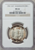 Commemorative Silver: , 1951-S 50C Booker T. Washington MS66 NGC. NGC Census: (300/55).PCGS Population (363/32). Mintage: 7,004. Numismedia Wsl. P...