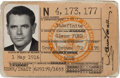 Movie/TV Memorabilia:Autographs and Signed Items, A Glenn Ford Signed 'Department of Defense' Identification Card,1958....