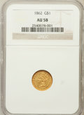 Gold Dollars: , 1862 G$1 AU58 NGC. NGC Census: (256/2503). PCGS Population(331/1734). Mintage: 1,361,390. Numismedia Wsl. Price for proble...
