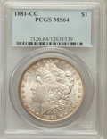 Morgan Dollars, 1881-CC $1 MS64 PCGS. PCGS Population (7047/5859). NGC Census:(3350/3035). Mintage: 296,000. Numismedia Wsl. Price for pro...