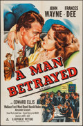 "Movie Posters:Mystery, A Man Betrayed (Republic, R-1953). One Sheet (27"" X 41""). Mystery....."