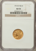 Indian Quarter Eagles: , 1914-D $2 1/2 AU55 NGC. NGC Census: (256/9925). PCGS Population(431/5174). Mintage: 448,000. Numismedia Wsl. Price for pro...