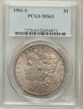 Morgan Dollars: , 1901-S $1 MS63 PCGS. PCGS Population (977/1130). NGC Census:(482/698). Mintage: 2,284,000. Numismedia Wsl. Price for probl...