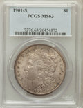 Morgan Dollars: , 1901-S $1 MS63 PCGS. PCGS Population (975/1130). NGC Census:(480/698). Mintage: 2,284,000. Numismedia Wsl. Price for probl...