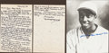 Baseball Collectibles:Others, James Cool Papa Bell Signed Letter and Yankee Stadium Pass, WithHandwritten, Signed Letter from Rube Marquard....