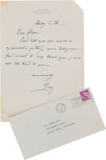 Movie/TV Memorabilia:Autographs and Signed Items, A Glenn Ford-Received Handwritten Letter from Gary Cooper, 1960.....