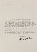 Movie/TV Memorabilia:Autographs and Signed Items, A Glenn Ford-Received Signed Letter from Charlie Chaplin, 1972....