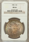 Morgan Dollars: , 1882 $1 MS64 NGC. NGC Census: (6241/1403). PCGS Population(4818/1439). Mintage: 11,101,100. Numismedia Wsl. Price for prob...