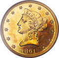 Proof Liberty Eagles, 1861 $10 PR64 Cameo PCGS. CAC....