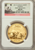 China:People's Republic of China, 2013 China Panda Gold 500 (1 oz), First Releases MS69 NGC. NGC Census: (66/44). PCGS Population (38/153)....