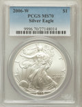 Modern Bullion Coins, 2006-W $1 Silver Eagle MS70 PCGS. PCGS Population (897). NGCCensus: (9712). Numismedia Wsl. Price for problem free NGC/PC...