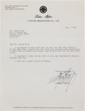 Movie/TV Memorabilia:Autographs and Signed Items, A Glenn Ford-Received Signed Letter from Toshiro Mifune, 1975....