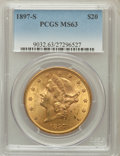 Liberty Double Eagles: , 1897-S $20 MS63 PCGS. PCGS Population (1716/439). NGC Census:(1820/328). Mintage: 1,470,250. Numismedia Wsl. Price for pro...
