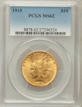 Indian Eagles: , 1915 $10 MS62 PCGS. PCGS Population (1063/818). NGC Census:(1068/922). Mintage: 351,075. Numismedia Wsl. Price for problem...