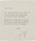 Movie/TV Memorabilia:Autographs and Signed Items, A Glenn Ford-Received Note from Judy Garland, Circa 1963....