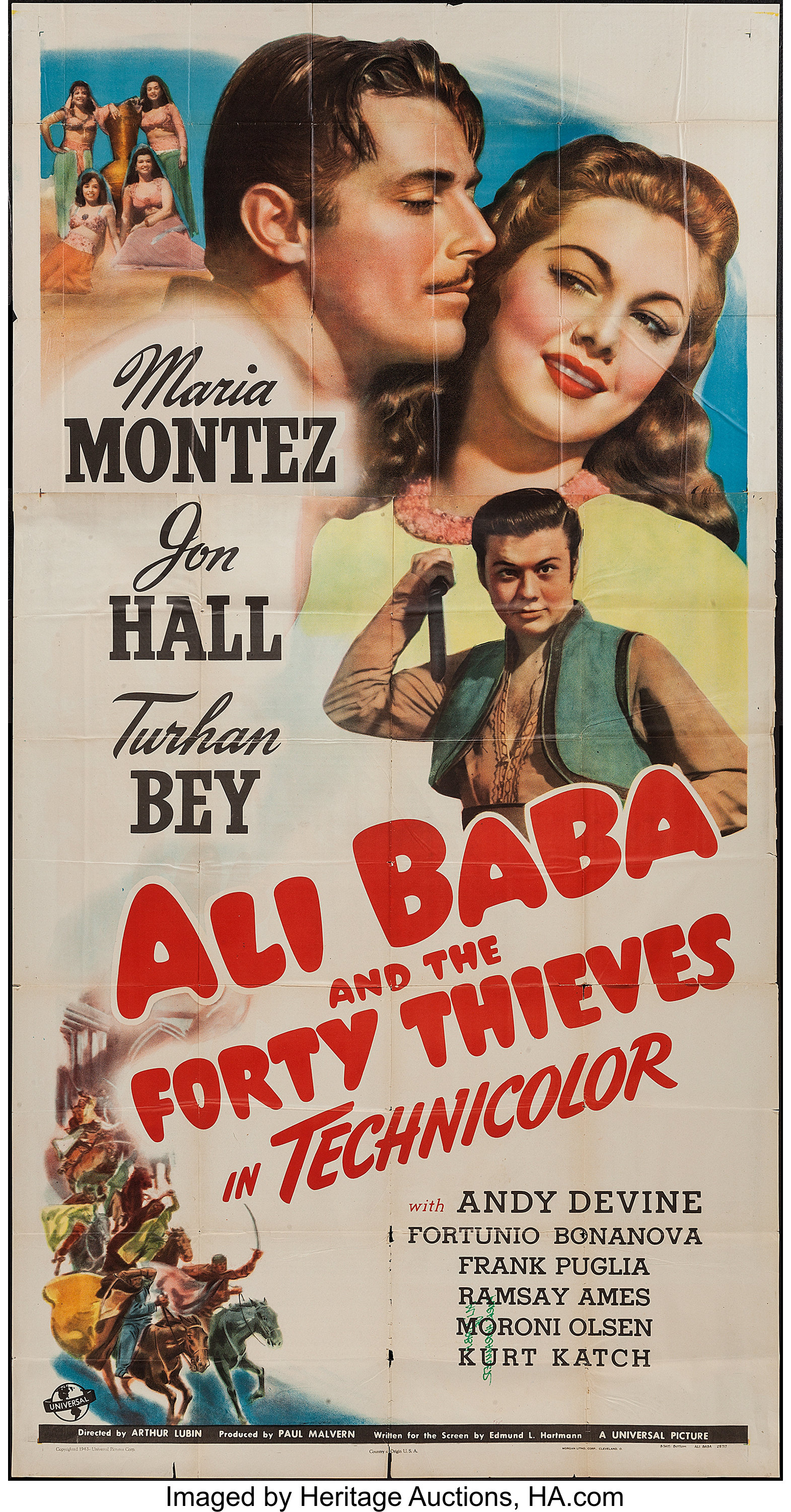 Ali Baba And The Forty Thieves Universal 1944 Three Sheet 41 Lot 51016 Heritage Auctions
