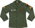 Music Memorabilia:Costumes, Elvis Presley's Owned and Worn ARMY Fatigue Shirt....