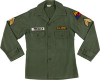 Elvis Presley's Owned and Worn ARMY Fatigue Shirt
