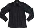 Music Memorabilia:Costumes, Elvis Presley Owned and Worn Black Sport Shirt With Silver Thread Stripes (1960s)....