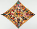 """Luxury Accessories:Accessories, Hermes Yellow, Red, and Green """"Les Danses des Indiens,"""" by Kermit Oliver Silk Plisse Scarf. ..."""