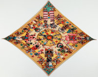 """Hermes Yellow, Red, and Green """"Les Danses des Indiens,"""" by Kermit Oliver Silk Plisse Scarf"""