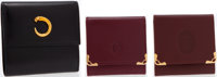 Set of Three; Cartier Black Leather Bi-fold Wallet and Two Cartier Red Leather Coin Purses