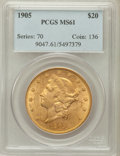 Liberty Double Eagles: , 1905 $20 MS61 PCGS. PCGS Population (140/271). NGC Census:(223/163). Mintage: 58,900. Numismedia Wsl. Price for problem fr...