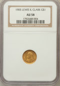 Commemorative Gold: , 1905 G$1 Lewis and Clark AU58 NGC. NGC Census: (69/1198). PCGSPopulation (119/1863). Mintage: 10,000. Numismedia Wsl. Pric...