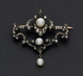 Estate Jewelry:Brooches - Pins, Georgian Cultured Pearl & Diamond Gold Brooch. ...