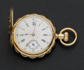 Timepieces:Pocket (post 1900), Elgin 14k Gold Fancy Dial Pocket Watch. ...