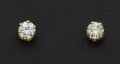 Estate Jewelry:Earrings, Diamond Stud Gold Earrings. ...