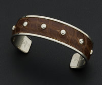 Tod's Brown Pressed Crocodile Silver Cuff Bracelet