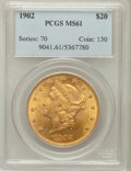 Liberty Double Eagles: , 1902 $20 MS61 PCGS. PCGS Population (115/253). NGC Census:(139/142). Mintage: 31,140. Numismedia Wsl. Price for problem fr...