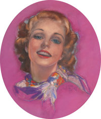 ZOE MOZERT (American, 1904-1993) Blonde Beauty, Romantic Story magazine cover, May 1939 Pastel on bo