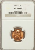 Lincoln Cents, 1971-D 1C MS66 Red NGC. NGC Census: (113/5). PCGS Population(194/19). Numismedia Wsl. Price for problem free NGC/PCGS coi...