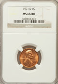 Lincoln Cents: , 1971-D 1C MS66 Red NGC. NGC Census: (113/5). PCGS Population(192/19). Numismedia Wsl. Price for problem free NGC/PCGS coi...