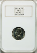 Proof Jefferson Nickels: , 1942-P 5C Type Two PR65 NGC. NGC Census: (716/1393). PCGSPopulation (1810/1751). Mintage: 27,600. Numismedia Wsl. Pricefo...