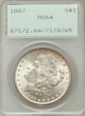Morgan Dollars: , 1887 $1 MS64 PCGS. PCGS Population (54715/16220). NGC Census:(76124/29374). Mintage: 20,290,710. Numismedia Wsl. Price for...