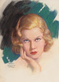 Pin-up and Glamour Art, EARL MORAN (American, 1893-1984). Portrait of Jean Harlow.Pastel on board. 14 x 10.25 in. (image). Signed lower left. ...