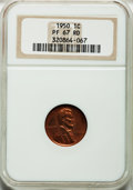Proof Lincoln Cents: , 1950 1C PR67 Red NGC. NGC Census: (97/6). PCGS Population (38/0).Mintage: 51,386. Numismedia Wsl. Price for problem free N...