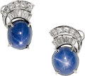 Estate Jewelry:Earrings, Art Deco Star Sapphire, Diamond, Platinum Earrings. ...