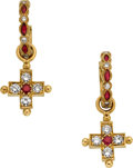 Estate Jewelry:Earrings, Diamond, Ruby, Gold Earrings, Loree Rodkin. ...