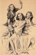 Mainstream Illustration, GEORGE GARLAND (American, 20th Century). Barbara Stanwyck withFriends, circa early 1940s. Ink wash on board. 16.5 x 11 ...