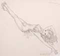 Paintings, GREG HILDEBRANDT (American, b. 1939). Sexy Pin-Up, preliminary sketch for WWII P-38 Fighter. Pencil on paper. 16.5 x 18 ...