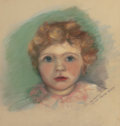 Mainstream Illustration, AMERICAN ARTIST (20th Century). Portrait of a Child. Pastelon board. 14.75 x 13.75 in.. Not signed. ...