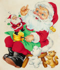 Mainstream Illustration, AMERICAN ARTIST (20th Century). Santa with Santa Wind-Up Toy,The Norcross Greeting Card Collection. Watercolor and goua...