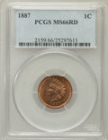 Indian Cents: , 1887 1C MS66 Red PCGS. PCGS Population (15/2). NGC Census: (2/2).Mintage: 45,226,484. Numismedia Wsl. Price for problem fr...