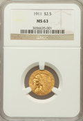 Indian Quarter Eagles: , 1911 $2 1/2 MS63 NGC. NGC Census: (1796/1429). PCGS Population(1143/787). Mintage: 704,000. Numismedia Wsl. Price for prob...