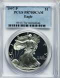 Modern Bullion Coins: , 1997-P $1 Silver Eagle PR70 Deep Cameo PCGS. PCGS Population (568).NGC Census: (9306). Numismedia Wsl. Price for problem ...